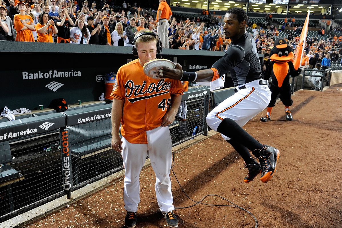 Adam Jones got some serious air time in delivering the pie Saturday night.