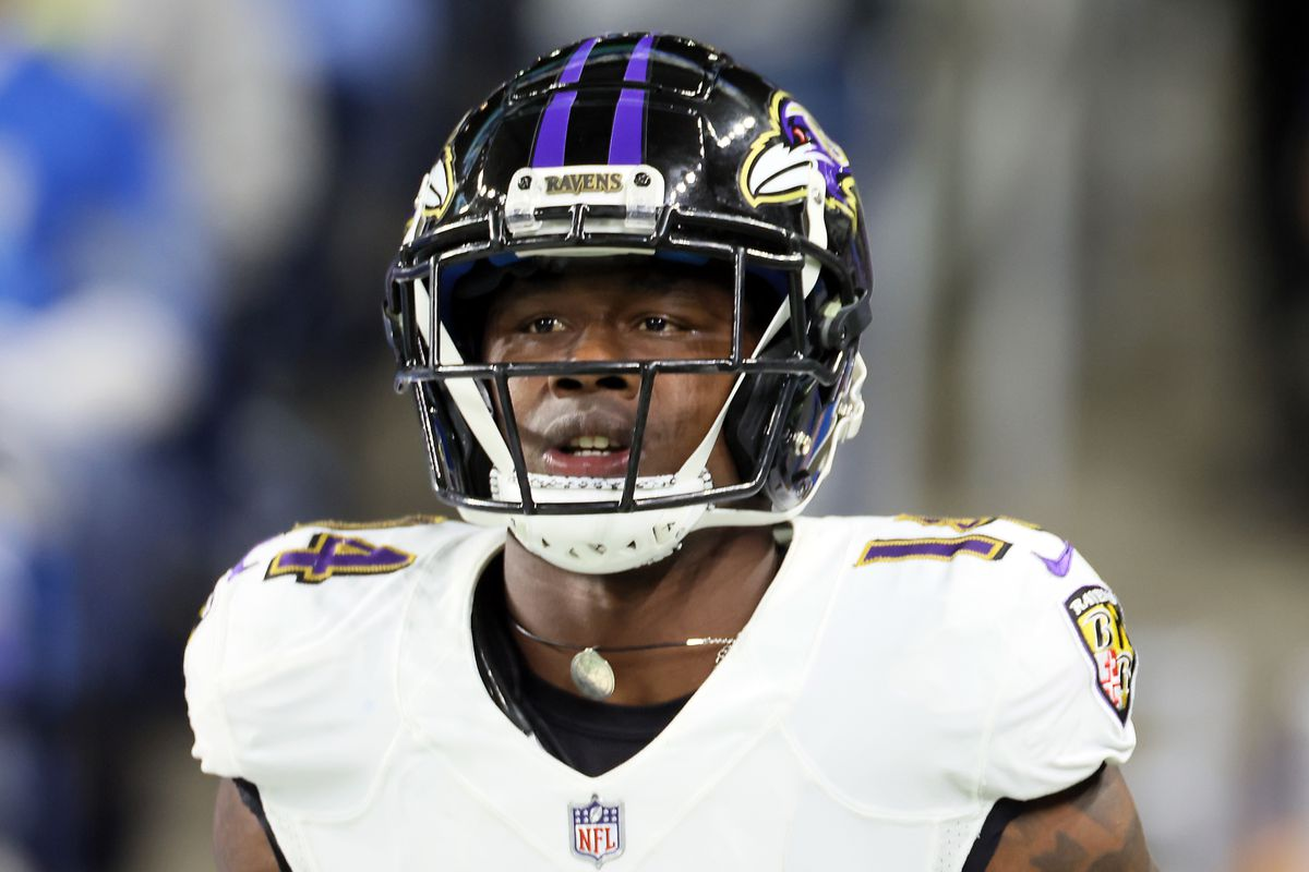 Baltimore Ravens wide receiver Sammy Watkins (14) walks on the field after a play during an NFL football game between the Detroit Lions and the Baltimore Ravens in Detroit, Michigan USA, on Sunday, September 26, 2021.
