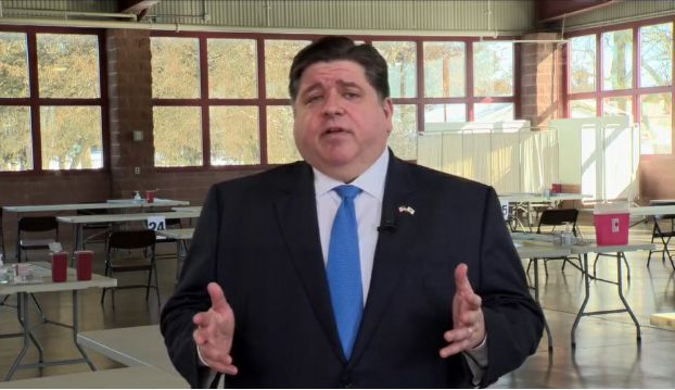 Gov. J.B. Pritzker delivers a virtual budget and State of the State address from the Illinois State Fairgrounds in Springfield earlier this month.
