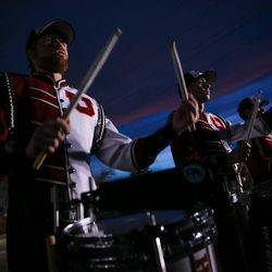 The Utah marching band plays as the team arrives before the game between the Utah Utes and Colorado Buffaloes at Rice-Eccles Stadium in Salt Lake City on Saturday, Nov. 25, 2017.