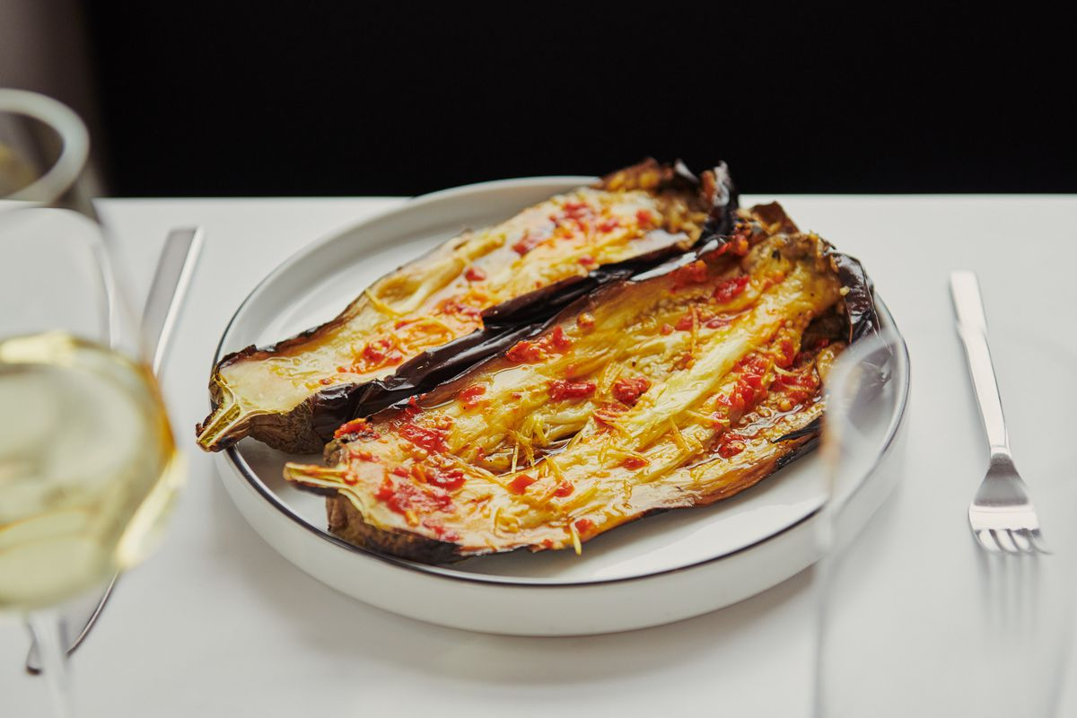 Roasted eggplant with Calabrian chile