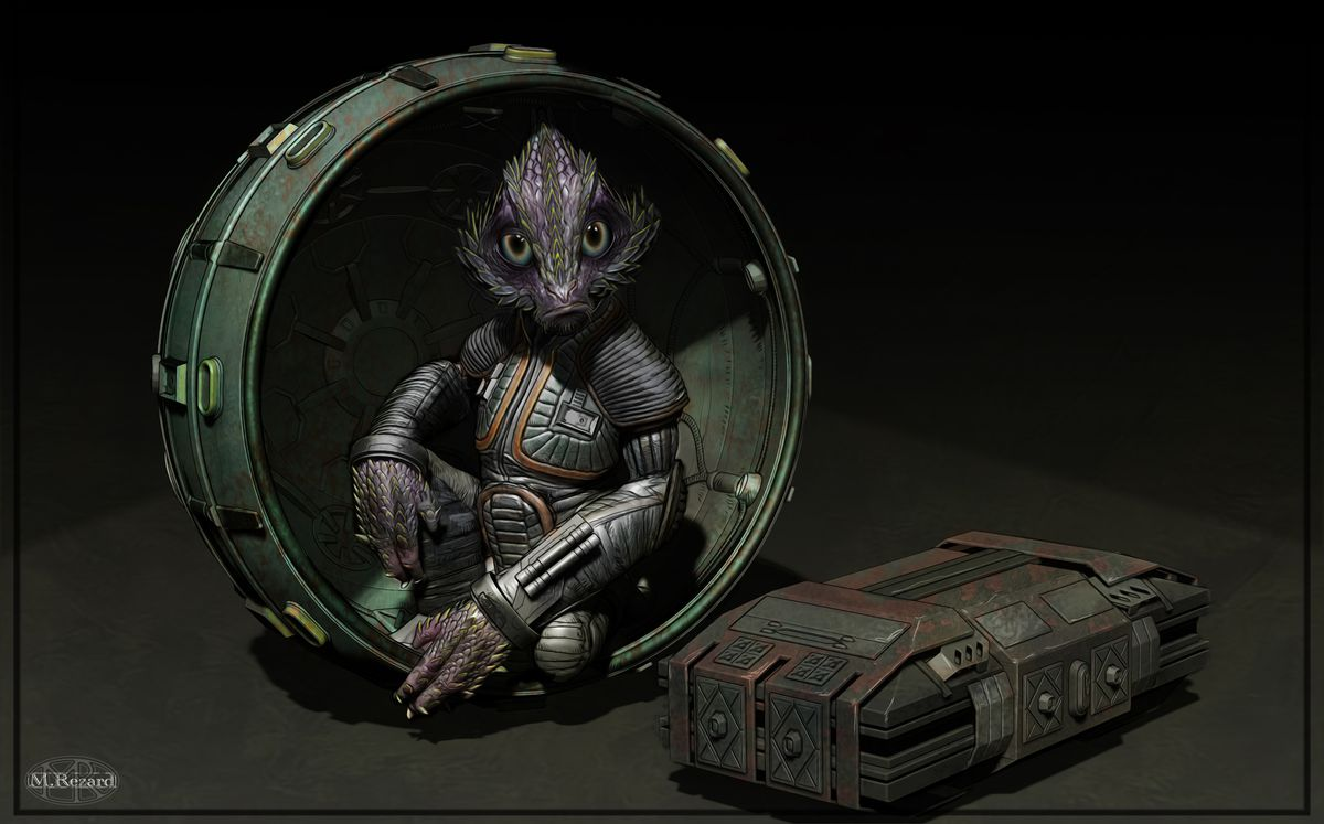 Concept art of an early Babu Frick, a purple creature with green scales, a blend of a monkey and a lizard, sits inside a ball. He's wearing a tiny spacesuit.
