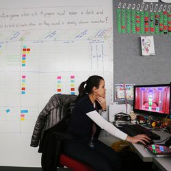 University of Utah graduate student Kellie Silva works on a project in Salt Lake City on Wednesday, April 5, 2017. Utah and it's nationally ranked Entertainment Arts & Engineering video game development program announced Wednesday that it is forming the U.'s first college-sponsored varsity esports program.