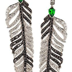 """Crows Nest <a href=""""http://www.stoneandstrand.com/earrings/crows-nest-jewelry-diamond-dream-feather-earrings"""">Diamond Dream Feather Earrings</a>, $17,550"""