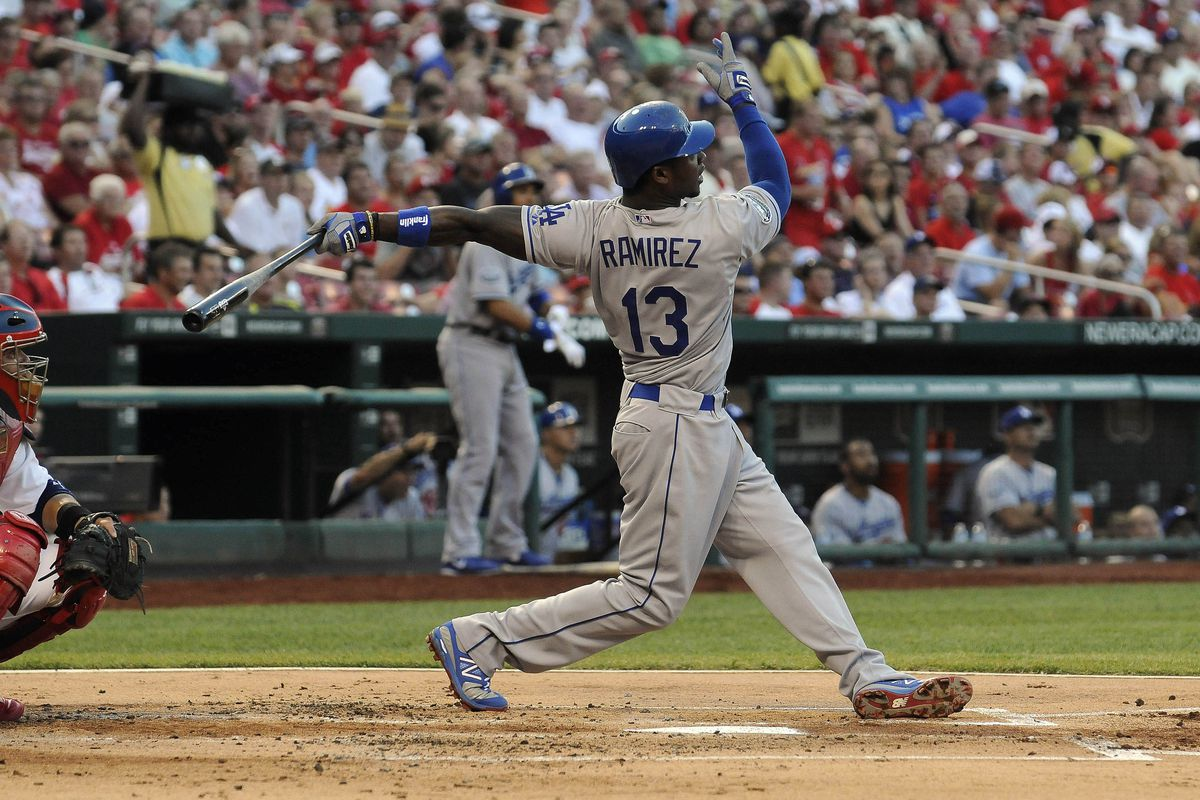 July 25, 2012; St. Louis, MO. USA; Los Angeles Dodgers third baseman Hanley Ramirez (13) hits a triple in the second inning against the St. Louis Cardinals at Busch Stadium. Mandatory Credit: Jeff Curry-US PRESSWIRE
