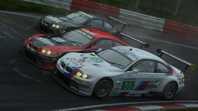 Three cars races side by side in a screenshot from Project Cars.