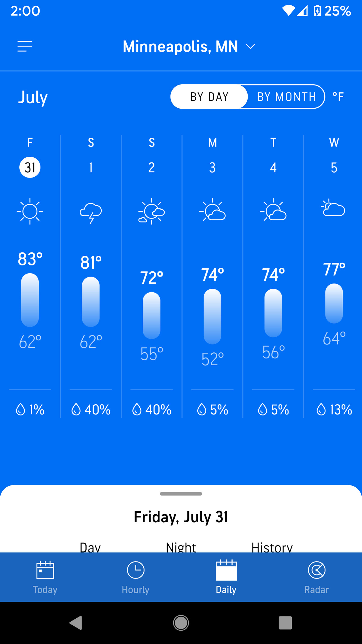 Tabs at the bottom give you a number of options for weather predictions.