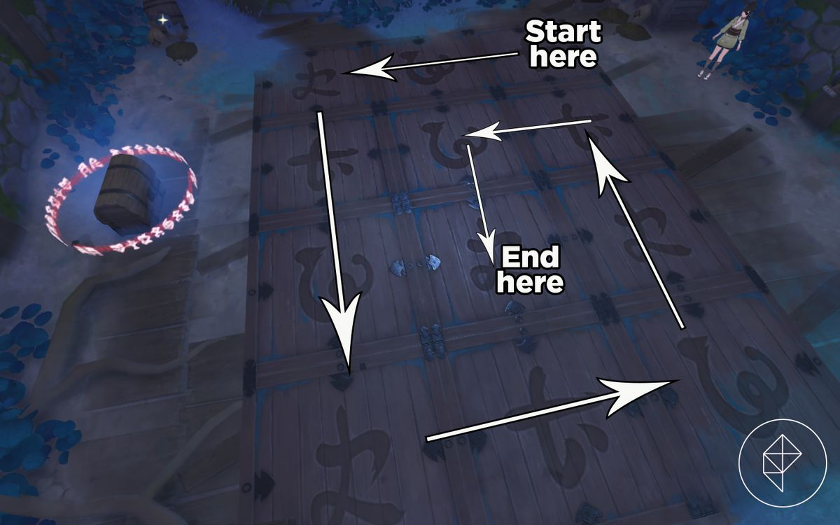 Arrows indicate a spiral pattern on some tiles in Genshin Impact's Relics of Seirai world quest part 2