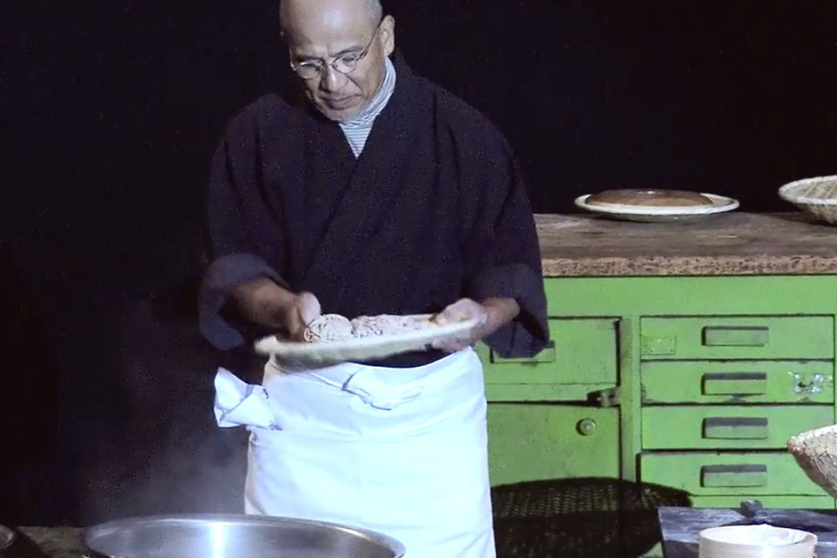 """Soba master Tatsuru Rai, making noodles by hand at <a href=""""http://eater.com/archives/2014/08/26/mad-4-symposium-copenhagen-hangover-observations-2014.php"""">MAD 4</a>."""