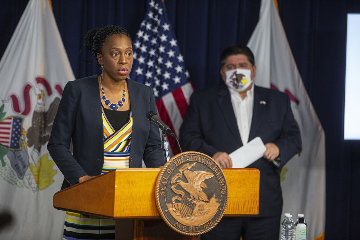 Illinois Department of Public Health Director Dr. Ngozi Ezike during a daily COVID-19 update Thursday.