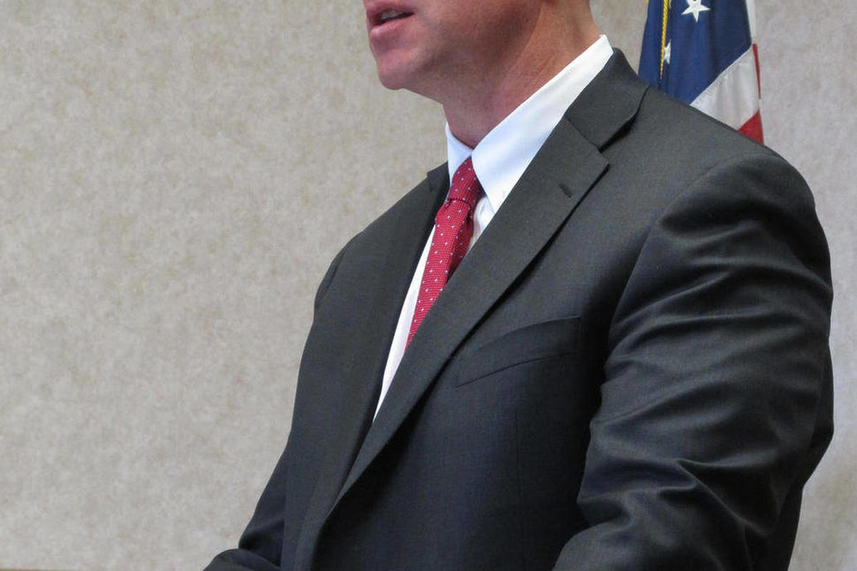 Gov. Matt Mead addresses reporters on Wednesday, April 25, 2012, at the state Capitol in Cheyenne, Wyo. Mead announced that the state game commission has approved allowing hunters to kill 52 wolves in the state this fall.