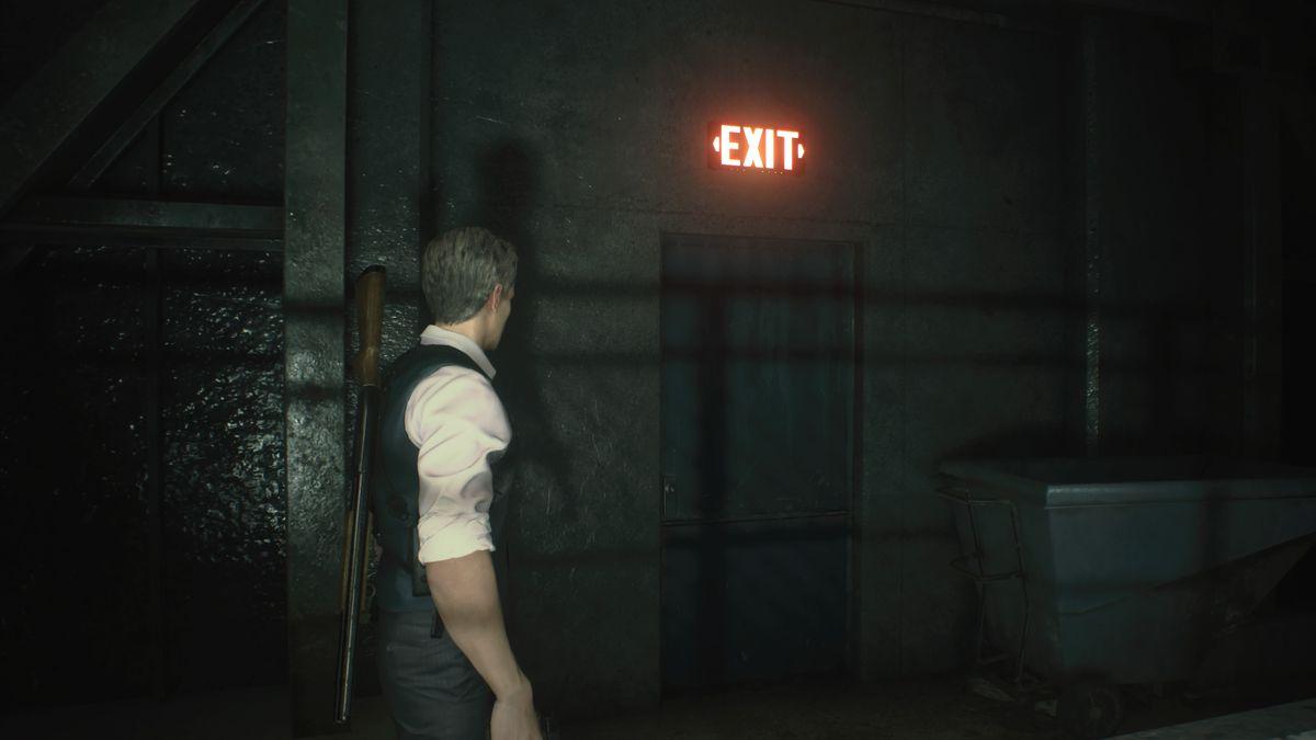 RE2 remake Leon 2nd Sewers Exit sign door