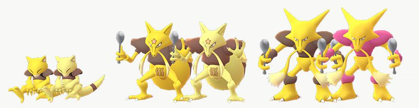 An Abra, Kadabra, and Alakazam stand next to their Shiny forms. Abra and Kadabra turn a lighter shade of yellow, whereas the brown parts of Alakazam become pink