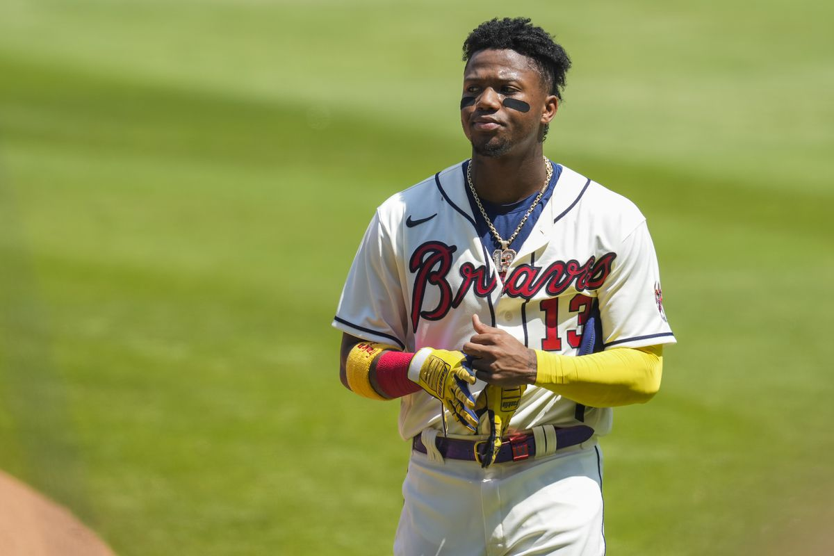 Atlanta Braves right fielder Ronald Acuna Jr. shown on the field after a double play ended the inning against the Pittsburgh Pirates during the seventh inning at Truist Park.