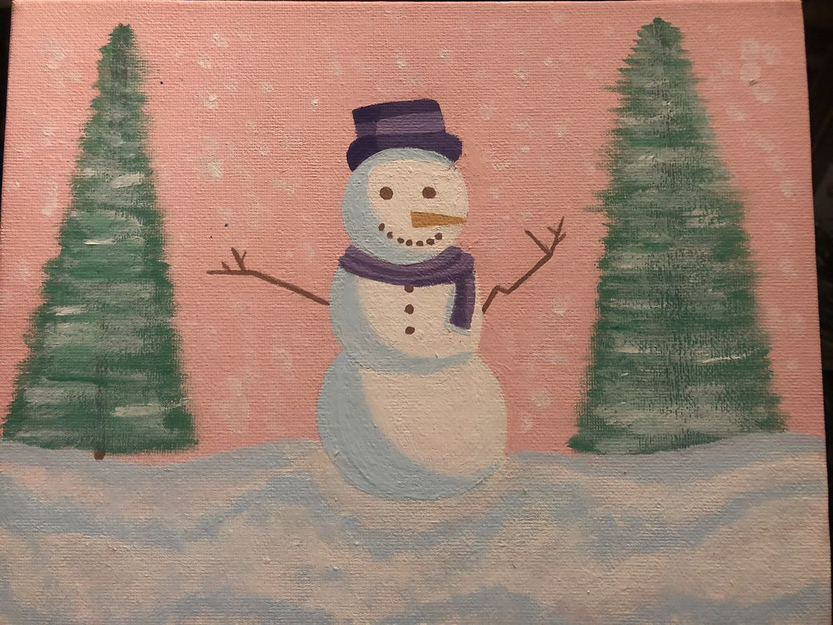 A classic snowman by Ingrid C., 16, a junior at Curie Metro High School on the Southwest Side.
