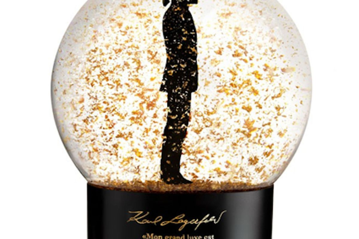"""We'd argue Lagerfeld's biggest luxury is immortalizing his own silhouette in a snow globe. Image via <a href=""""http://www.wwd.com/fashion-news/fashion-scoops/karl-lagerfeld-creates-capsule-makeup-line-for-sephora-5346966?src=rss/recentstories/201111"""