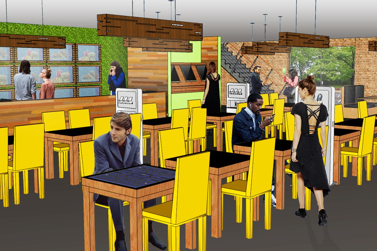 A rendering of what a typical fast casual restaurant may look like in the year 2040