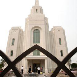 Visitors tour the Brigham City Utah Temple, Tuesday, Aug. 14, 2012.