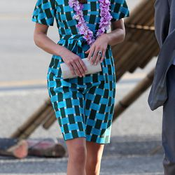 Kate arrives at Honiara International Airport on September 16th, 2012 in a festive Jonathan Saunders dress.