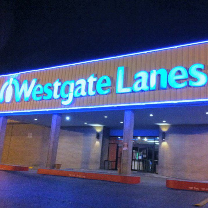building with marquee that says Westgate Lanes