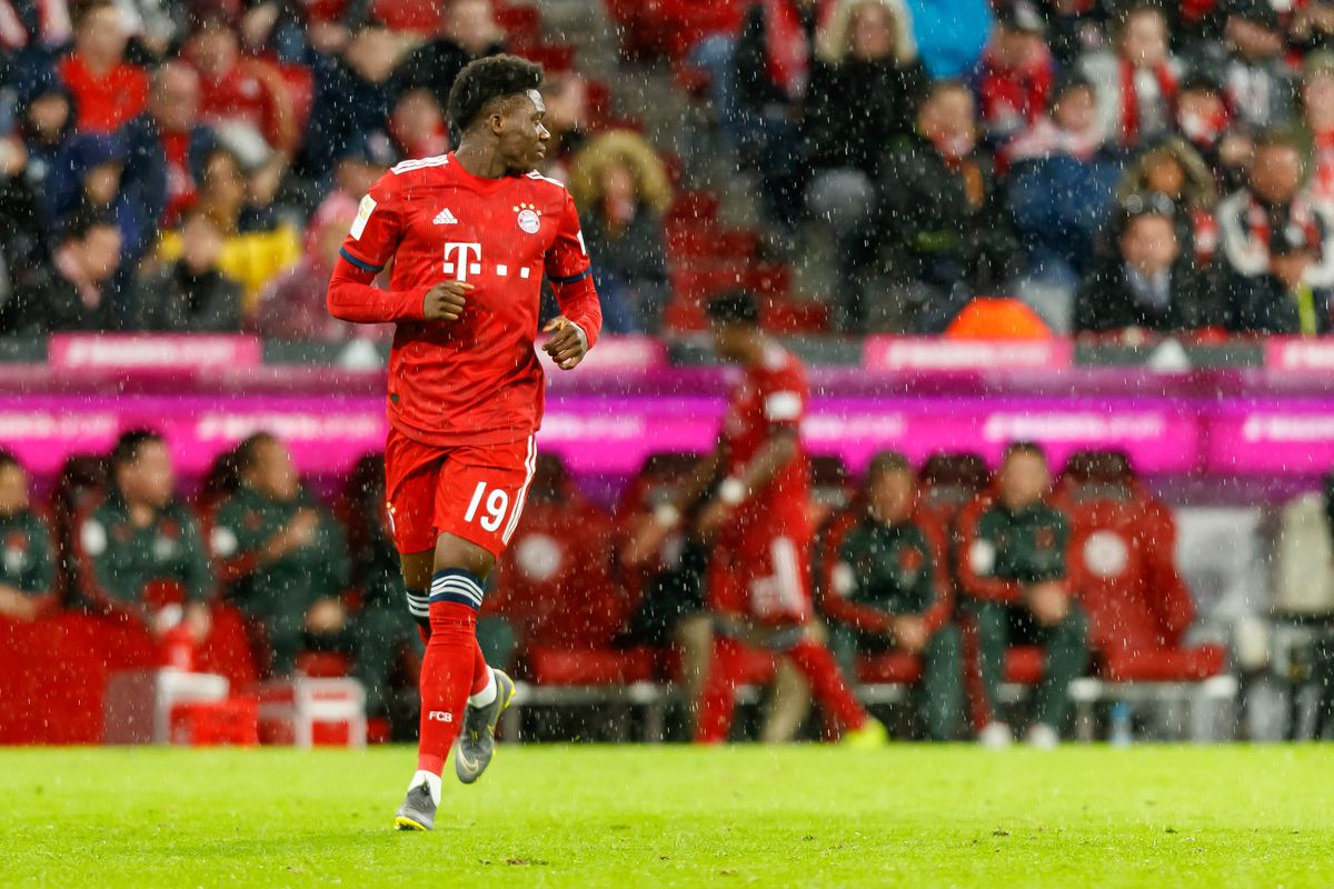 MUNICH, GERMANY - MARCH 17: Alphonso Davies of FC Bayern Muenchen looks on during the Bundesliga match between FC Bayern Muenchen and 1. FSV Mainz 05 at Allianz Arena on March 17, 2019 in Munich, Germany.