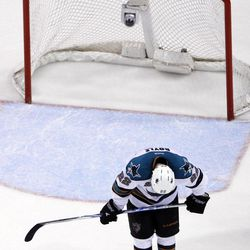 San Jose Sharks' Dan Boyle reacts as the final horn sounds on their 3-1 loss to the St. Louis Blues in Game 5 of an NHL Stanley Cup first-round hockey playoff series, Saturday, April 21, 2012, in St. Louis. The Blues won series 4-1.