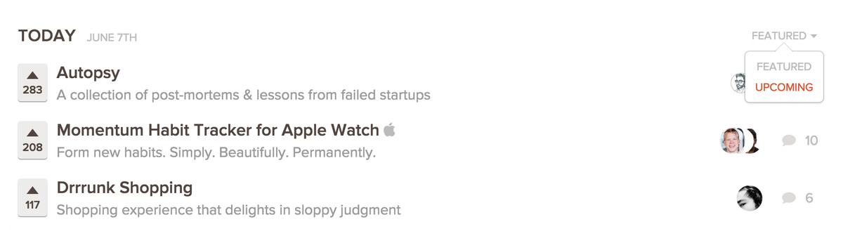 Product Hunt's upcoming feed isn't easy to spot.