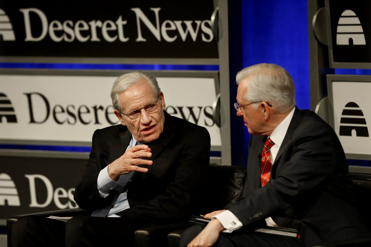 Bob Woodward, Washington Post reporter who broke the Watergate story in 1973 and current associate editor at the Post, speaks to Elder D. Todd Christofferson, a member of the Quorum of the Twelve Apostles for The Church of Jesus Christ of Latter-day Saint