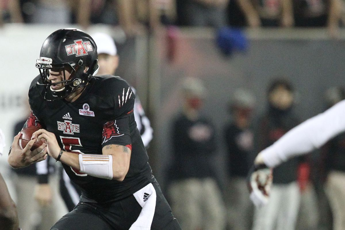 Red Wolves' quarterback Adam KEnnedy is a threat in the air as well as on the ground.
