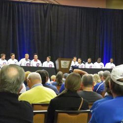 Ron Coomer and Jim Deshaies moderate the rookie panel