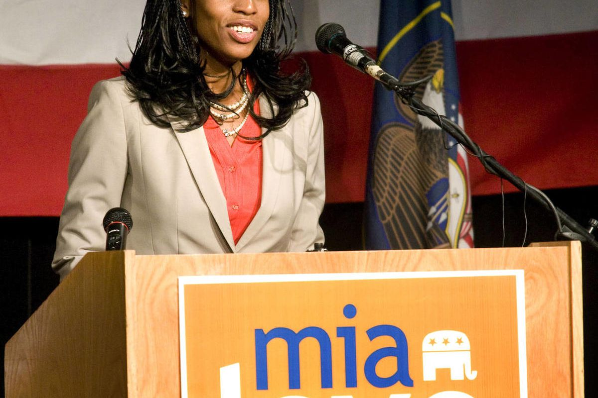 Saratoga Springs Mayor and Congressional candidate Mia Love speaks Friday, Sept. 7, 2012 at Thanksgiving point prior to Former secretary of State Condoleezza Rice at a luncheon supporting Mia Love's run for Congress.