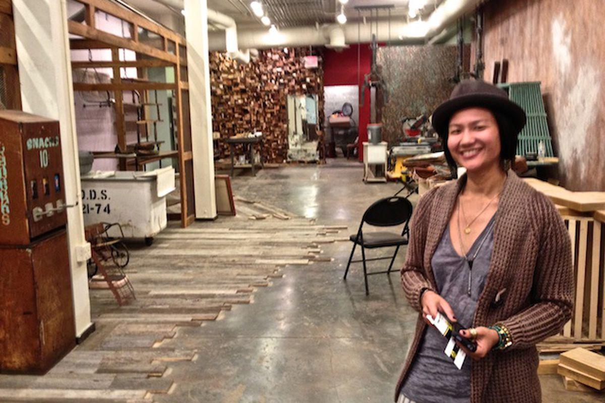 """Store manager Cara Anasco in a photo taken of the still-under-construction space in November. Image via <a href=""""http://www.larchmontbuzz.com/larchmont-village-life/shop-local-on-larchmont-part-two/attachment/alternative-apparel/"""">Larchmont Buzz</a>"""