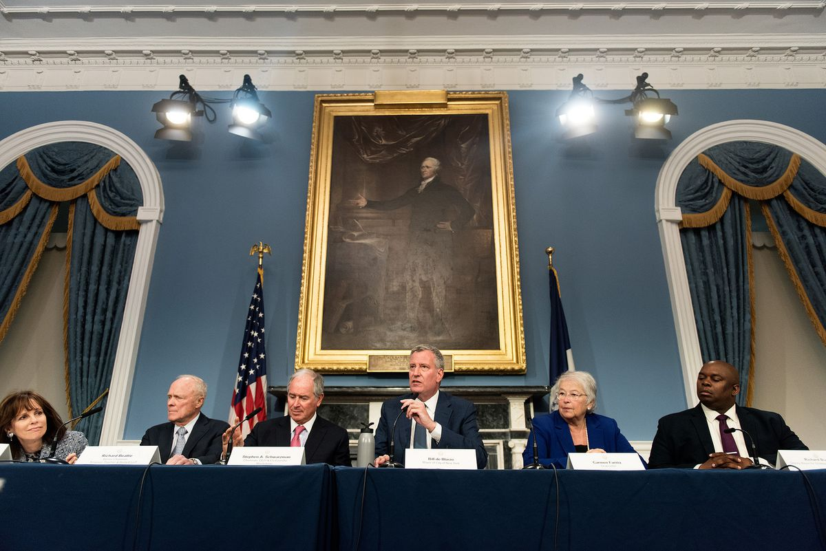 Mayor Bill de Blasio held a press conference to demonstrate business leaders' support for mayoral control in May 2016.