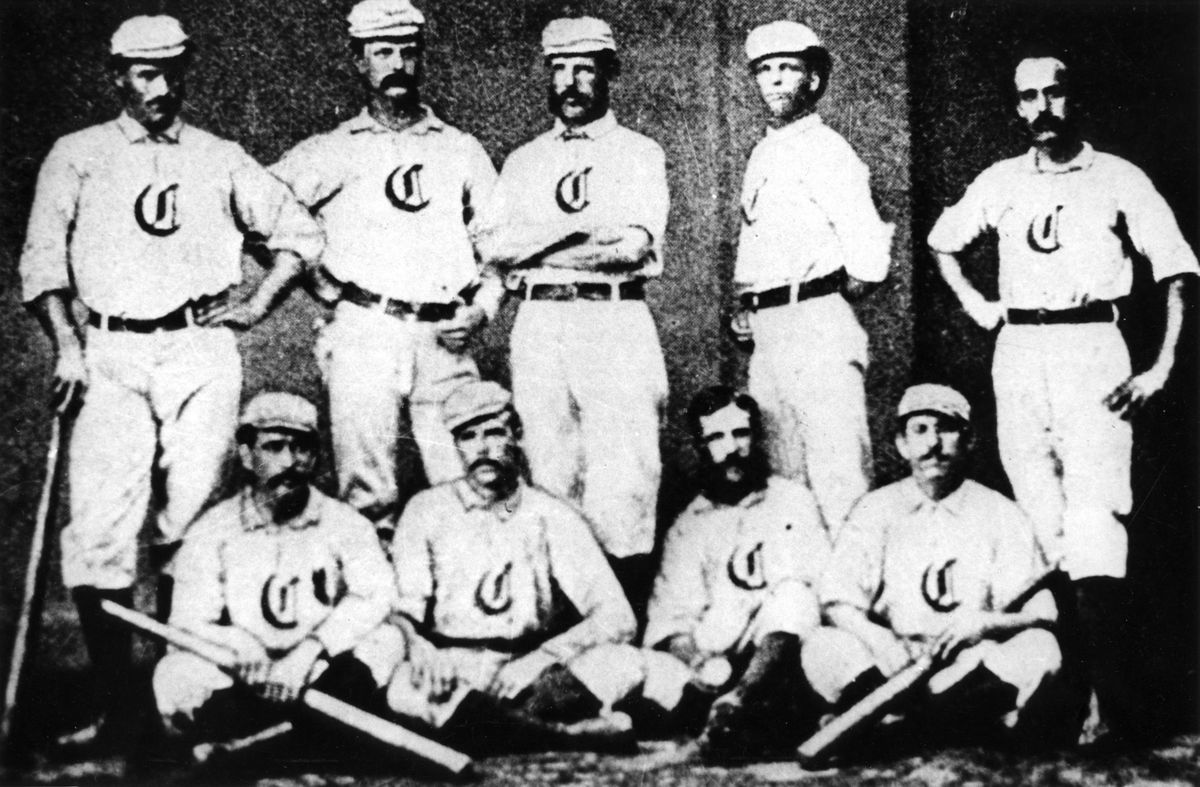 Players for the Cincinnati Red Stockings pose for a team photo in 1869