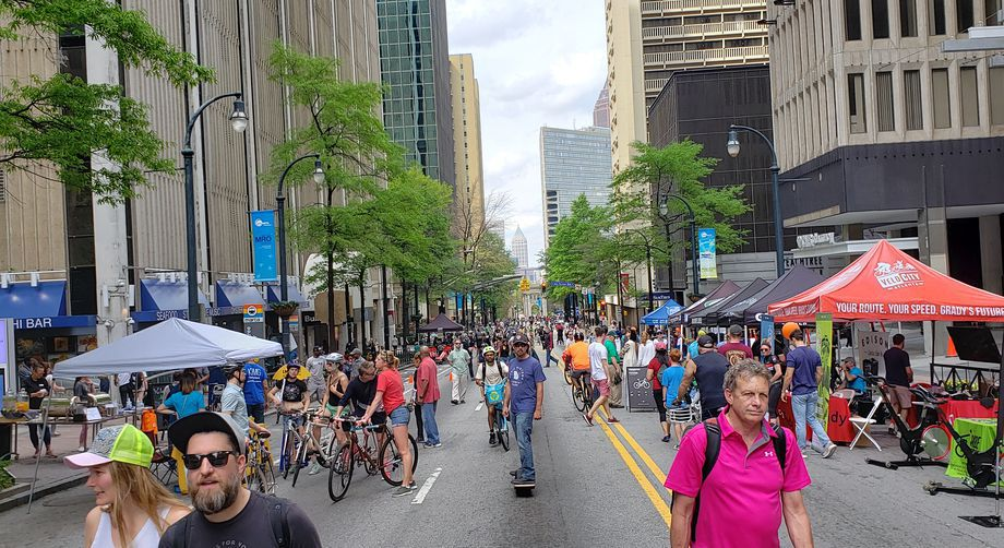 A gathering of Atlanta Streets Alive in downtown.