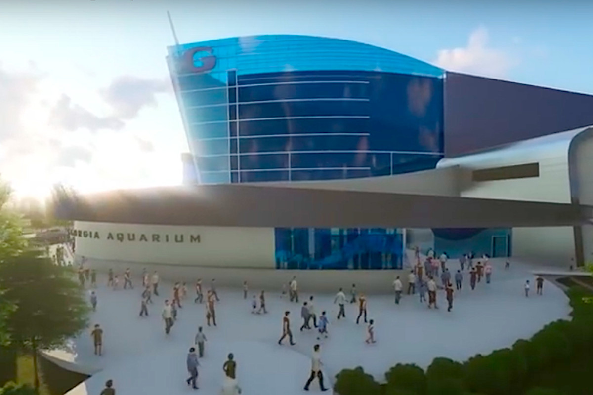 A glass new structure show in renderings with many people in front of it.