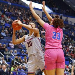 The Memphis Tigers take on the UConn Huskies in a women's college basketball game at the XL Center in Hartford, CT on February 20, 2019.