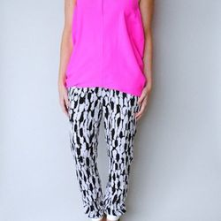 """<strong>Graphic Pants</strong> are big for spring. """"Black + white graphic prints were all over the runway for SS14, which excites me,"""" Jenna says. """"Really, what's better than a pair of fun printed pants? Paired with a simple tee and fun accessories—so cut"""