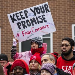 Striking Chicago Teachers Union and SEIU Local 73 members rally on the picket line outside Oscar DePriest Elementary School on the West Side, Tuesday morning, Oct. 22, 2019.