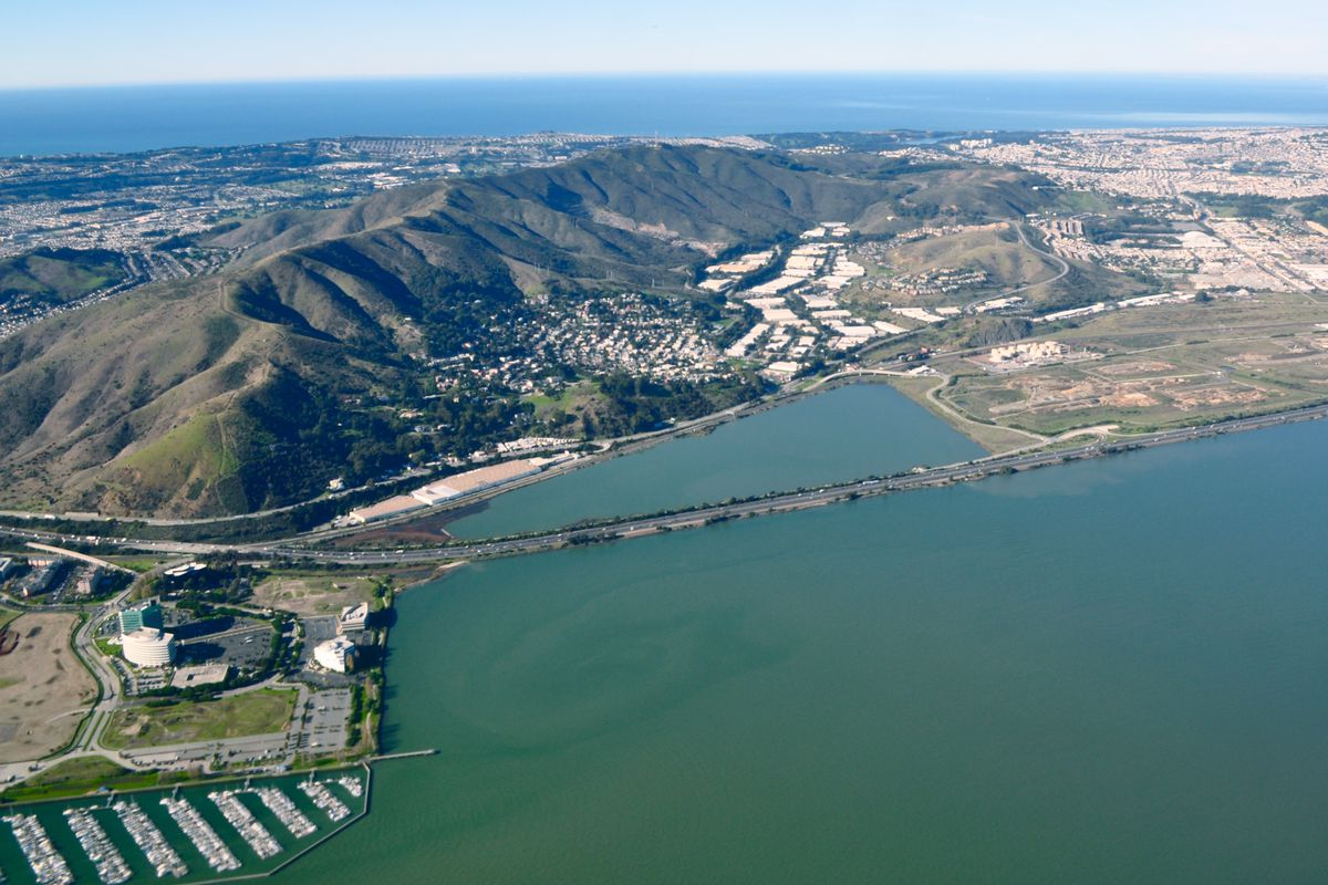 Aerial photo of the Baylands in Brisbane.