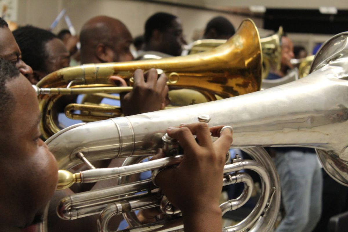 Memphis Mass Band members prepare for Saturday's Independence Showdown Battle of the Bands in Jackson, Mississippi.