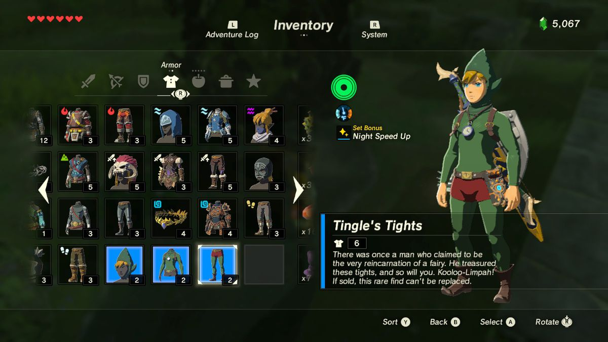 Tingle's Fairy Clothes give you a speed boost at night