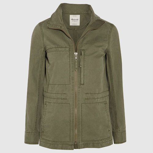 Army green canvas jacket with multiple body pockets and double zip.