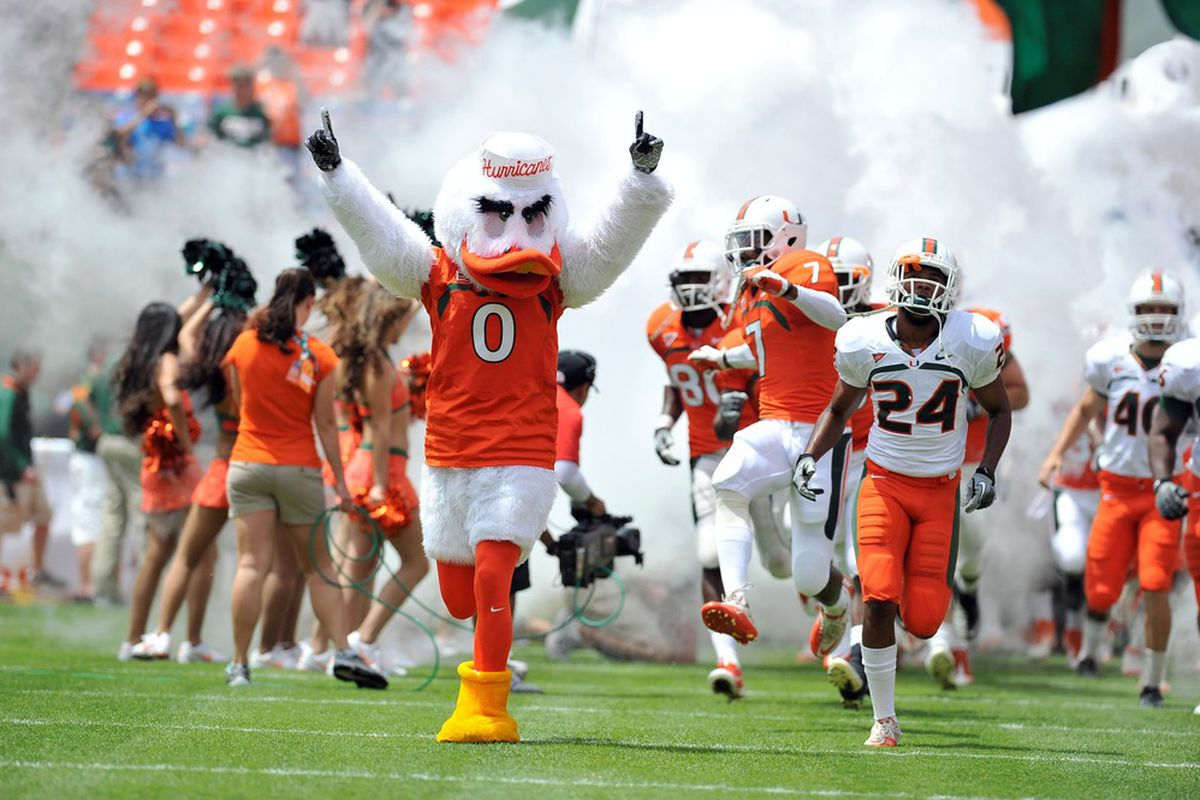 April 14, 2012; Miami Gardens, FL, USA; Miami Hurricanes mascot Sebastian leads the team out for the beginning of the spring scrimmage game for the University of Miami at Sun Life Stadium. Mandatory Credit: Brad Barr-US PRESSWIRE