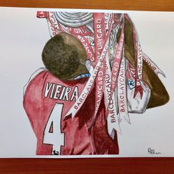 """<a class=""""ql-link"""" href=""""https://www.etsy.com/listing/841375822/patrick-vieira-arsenal-with-the?ref=shop_home_active_36"""" target=""""_blank"""">Patrick Vieira postcard-sized print</a>. Beautifully painted. You could get several different ones and arrange them together. Sadly, does not ship outside the UK. For the art-loving Gooner. From <a class=""""ql-link"""" href=""""https://www.etsy.com/shop/RuthBeckArt?ref=search_shop_redirect"""" target=""""_blank"""">RuthBeckArt</a>."""
