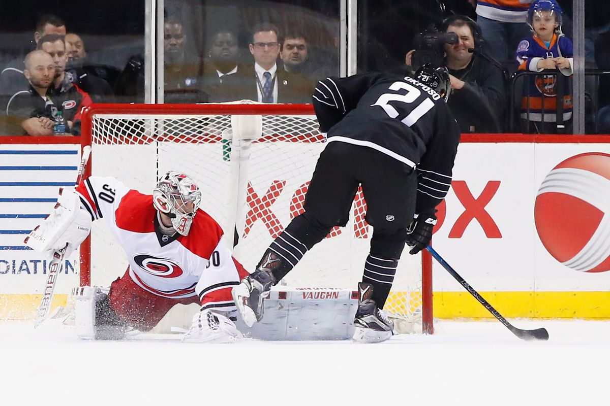 Kyle Okposo scores the game winner in the shootout against the Hurricanes on Tuesday night