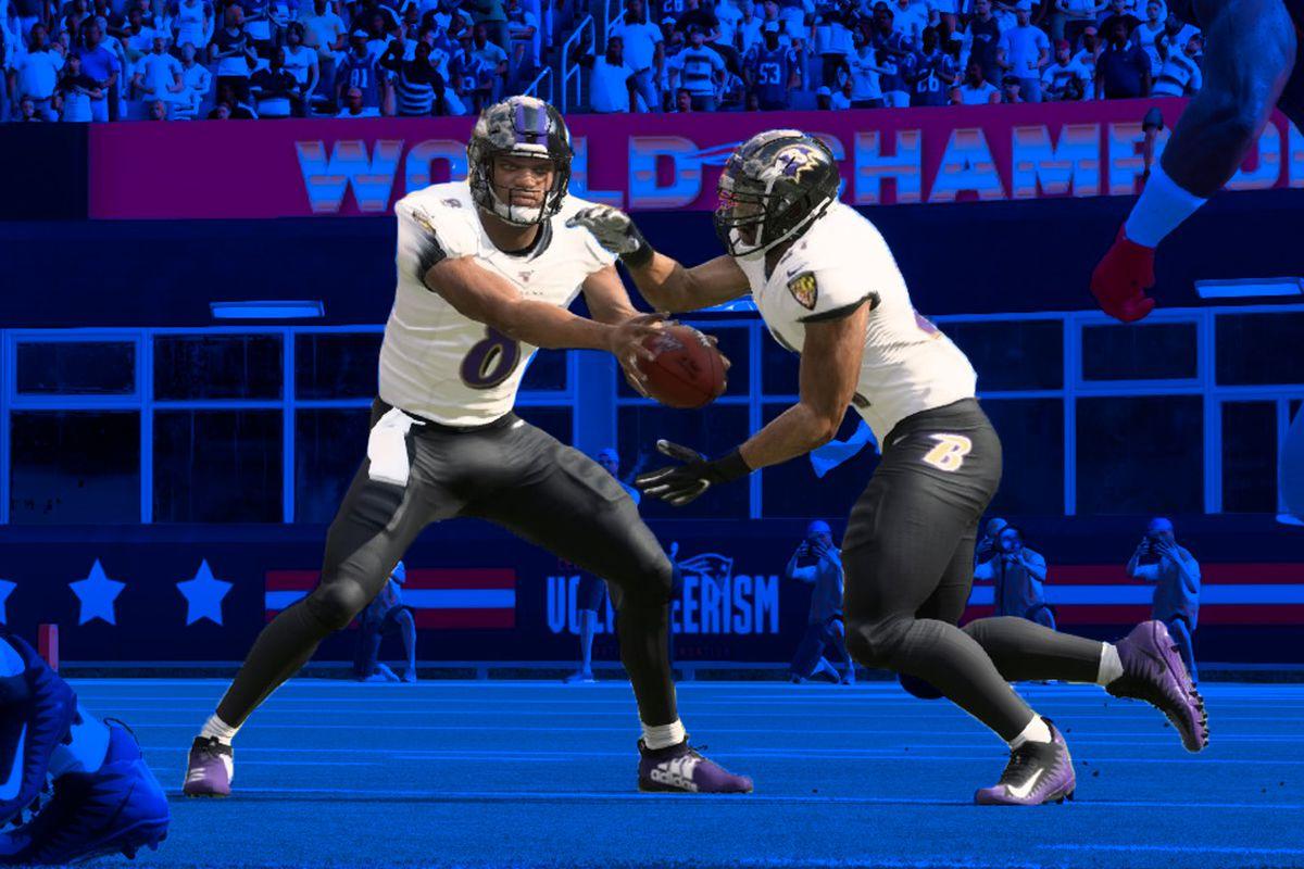 Lamar Jackson runs an RPO in Madden 20 by EA Sports.