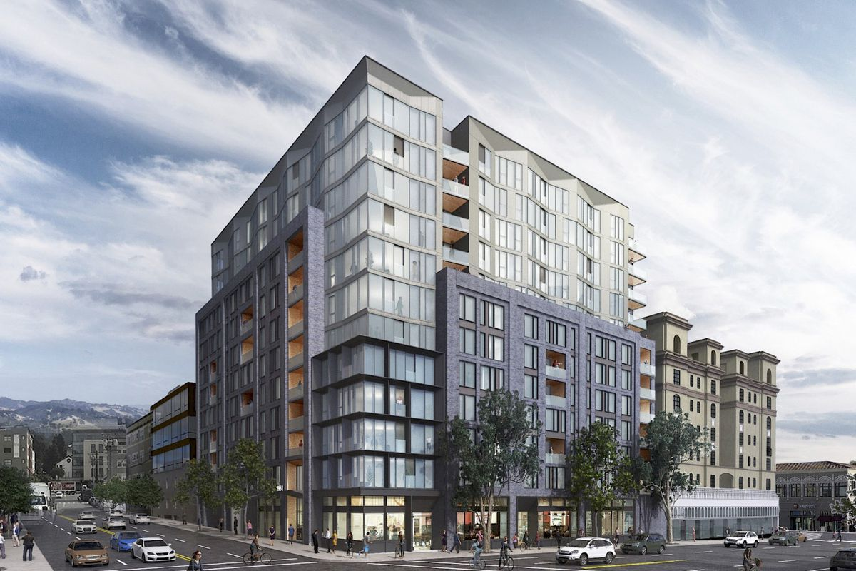 Rendering of contemporary 12-story apartment building in Berkeley.