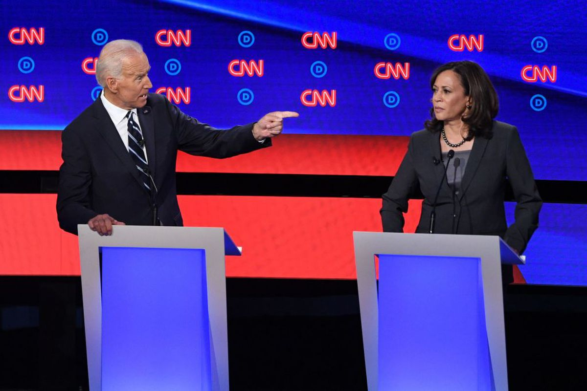Democratic presidential hopeful Former Vice President Joe Biden (L) gestures toward US Senator from California Kamala Harris during the second round of the second Democratic primary debate of the 2020 presidential campaign season hosted by CNN at the Fox Theatre in Detroit, Michigan on July 31, 2019.