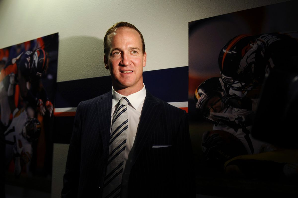 March 20 2012; Englewood, CO, USA; Denver Broncos Peyton Manning (18) following his press conference at Broncos headquarters. Mandatory Credit: Ron Chenoy-US PRESSWIRE